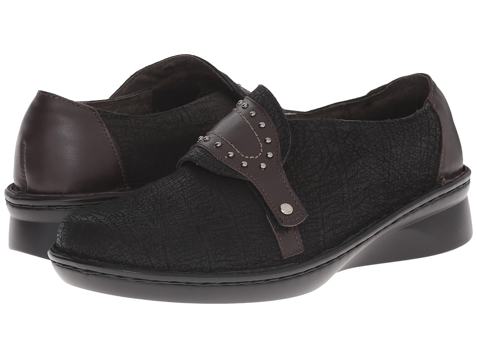 Naot Footwear - Bach (Black Crackle Leather/French Roast Leather) Women's Shoes