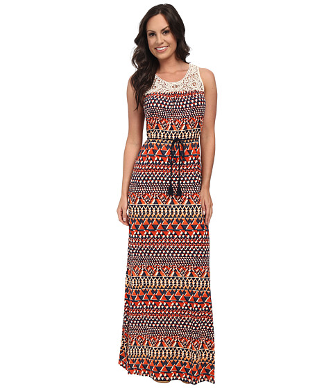 Lucky Brand - Crochet Maxi Dress (Orange Multi) Women's Dress