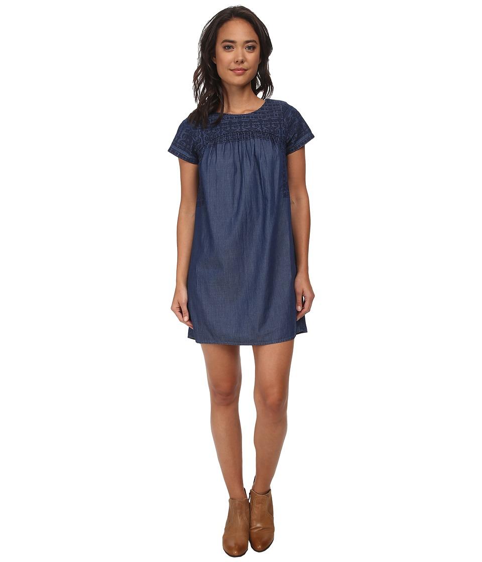 Lucky Brand Embroidered Tencel Dress (Dark Wash) Women