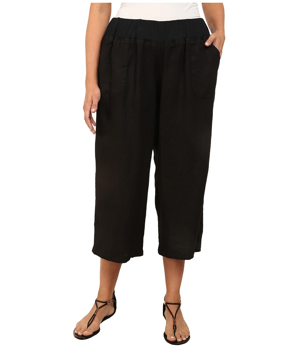 Allen Allen - Plus Size Crop Pants w/ Rib Waist (Black) Women's Capri