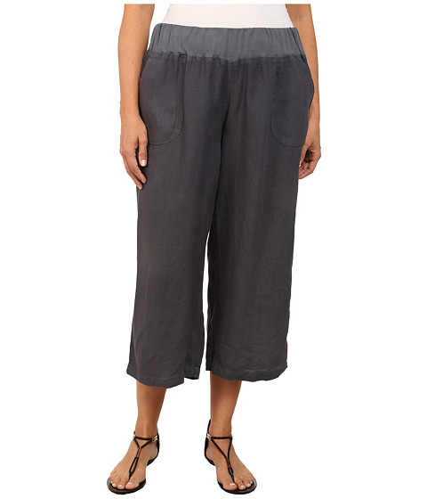 Allen Allen - Plus Size Crop Pants w/ Rib Waist (Flint) Women