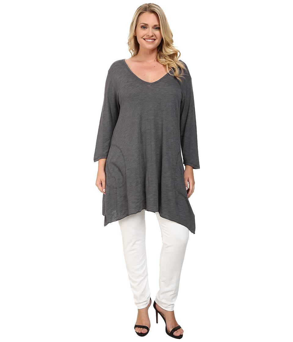 Allen Allen - Plus Size Three Quarter Angled Tee (Flint) Women's T Shirt