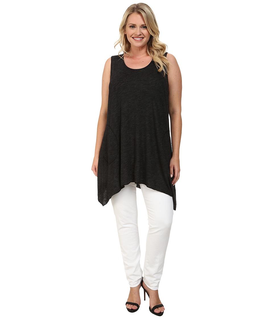 Allen Allen - Plus Size Angled Tank Top (Black) Women's Sleeveless