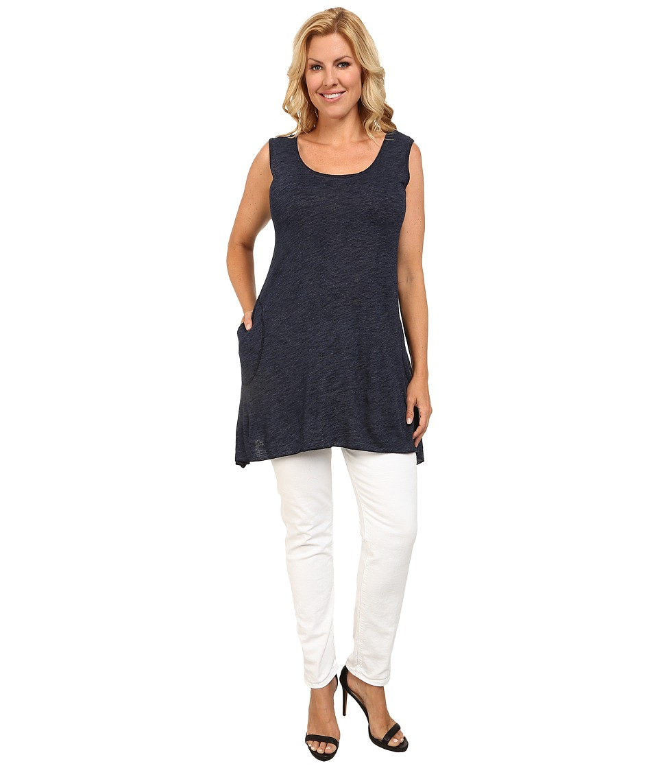 Allen Allen - Plus Size Angled Tank Top (Lapis) Women's Sleeveless