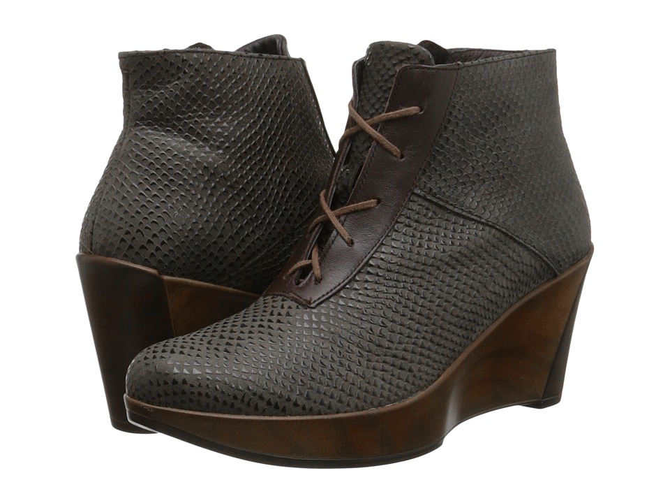 Naot Footwear Nadine (Brown Croc Leather/French Roast Leather) Women