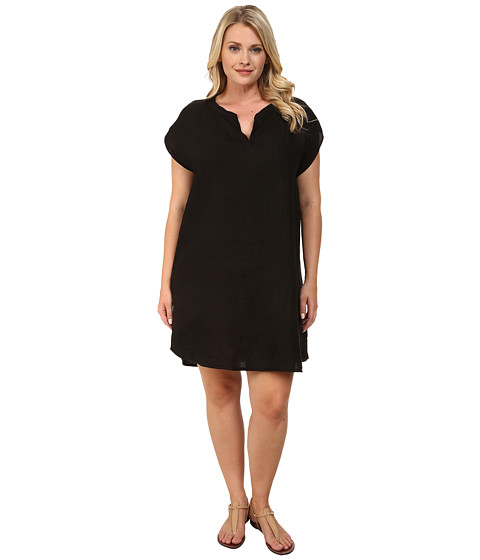 Allen Allen - Plus Size Split Neck Dress (Black) Women's Dress