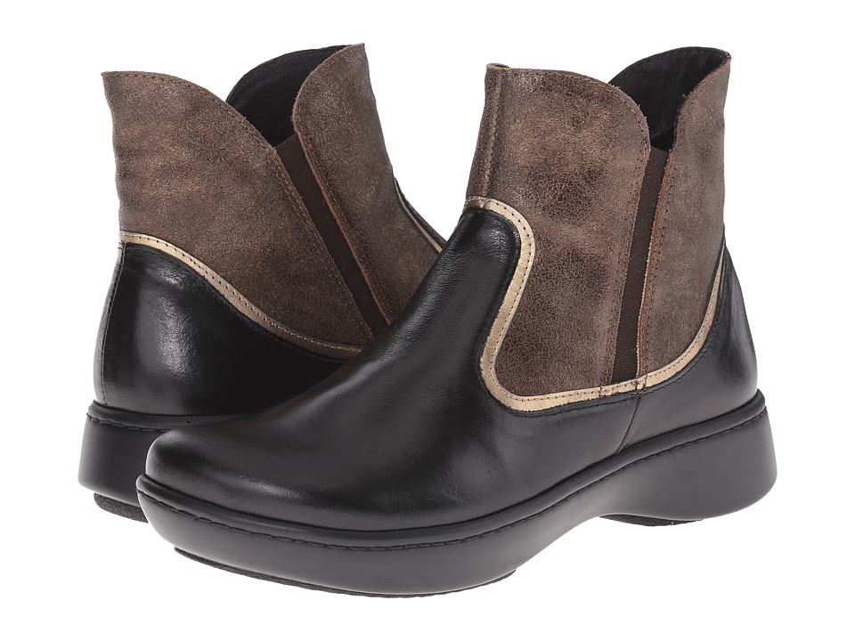 Naot Footwear - Surge (Black Madras Leather/Bronze Shimmer Suede/Brass Leather) Women's Boots