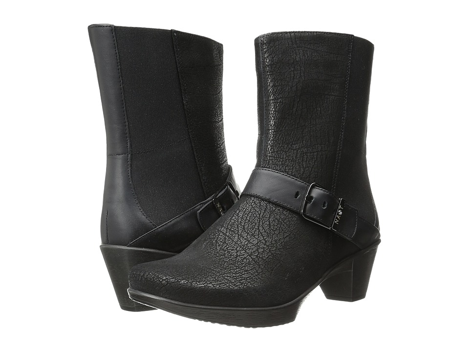 Naot Footwear - Reflect (Black Crackle Leather/Jet Black Leather) Women's Zip Boots
