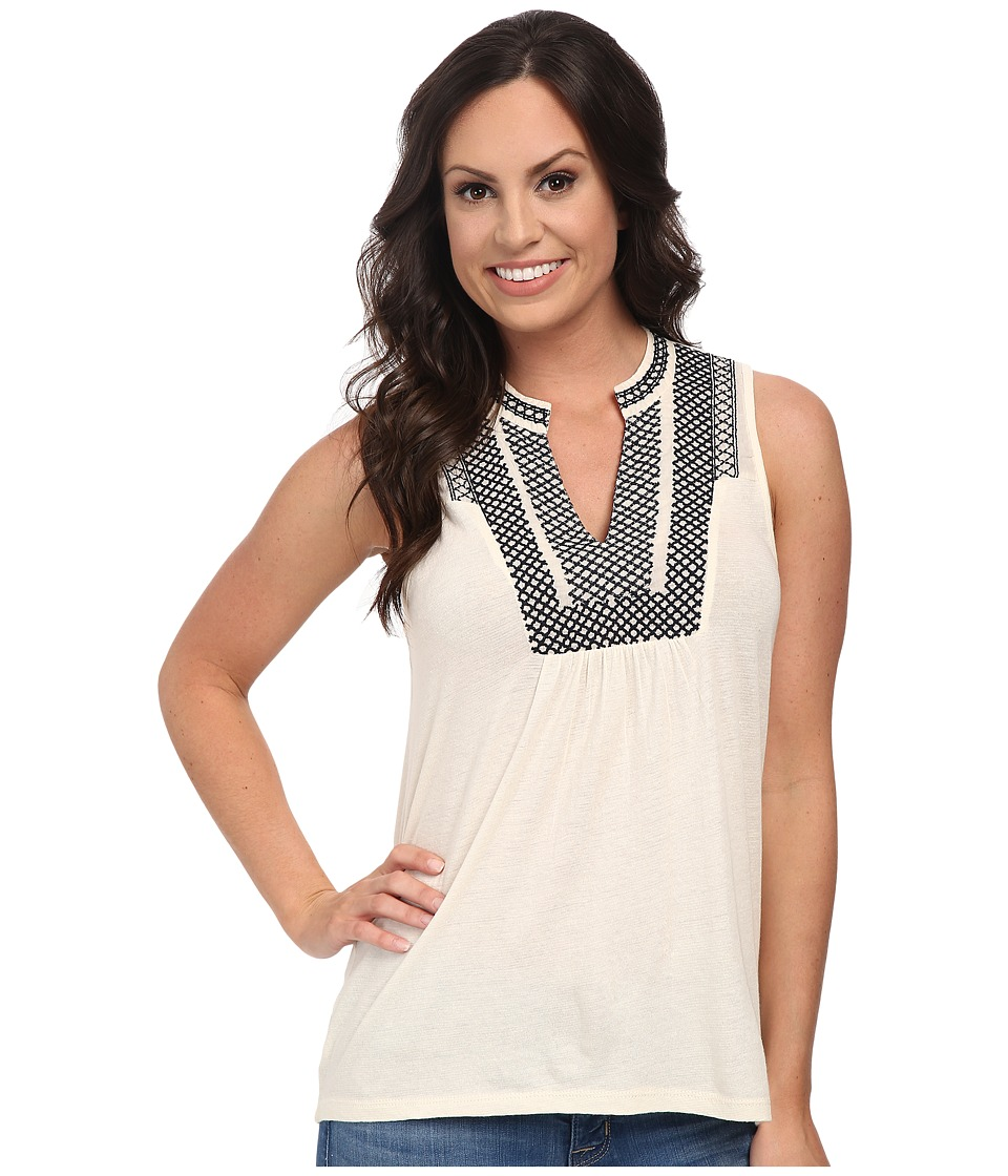 Lucky Brand - Cross Stitch Bib Tank Top (Cream) Women's Sleeveless