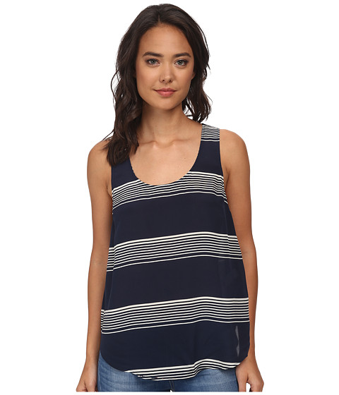 Lucky Brand - Striped Cross Back Tank Top (Navy Multi) Women's Sleeveless