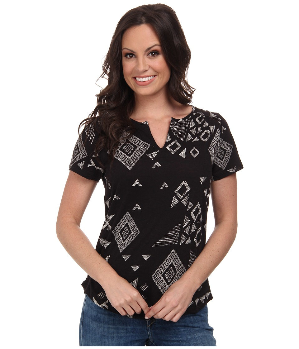 Lucky Brand - Gia Patchwork Top (Black Multi) Women's Clothing