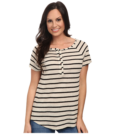 Lucky Brand - Even Stripe Top (Black Stripe) Women