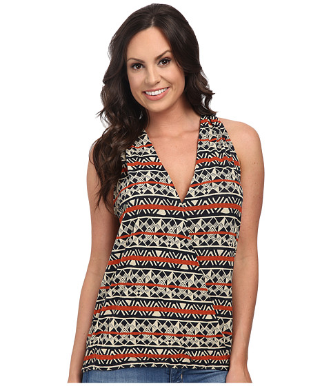 Lucky Brand - Triangle Stripes Top (Blue Multi) Women