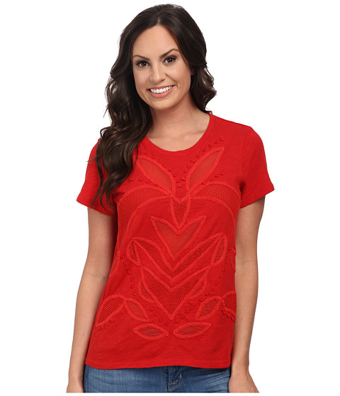Lucky Brand - Cut Out Mesh Top (Red) Women's Clothing