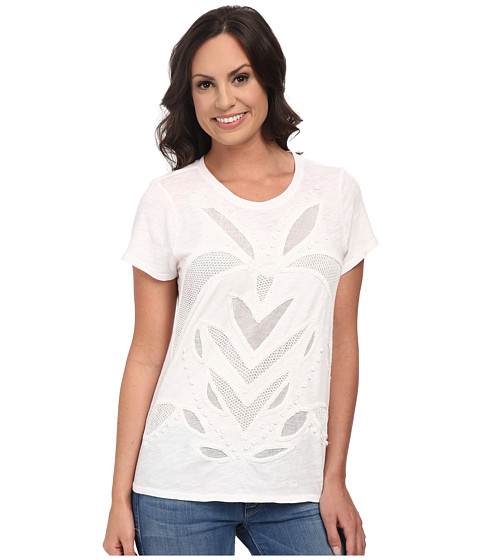 Lucky Brand - Cut Out Mesh Top (Lucky White) Women's Clothing