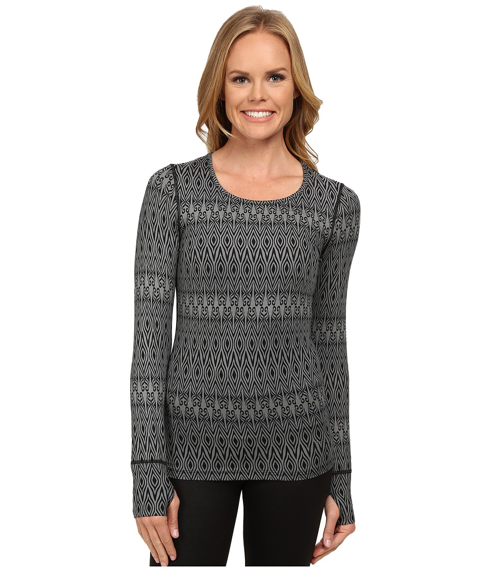 Terramar - Cloudnine Performance Long Sleeve Scroll Scoop W8324 (Black Scroll Print) Women's Long Sleeve Pullover