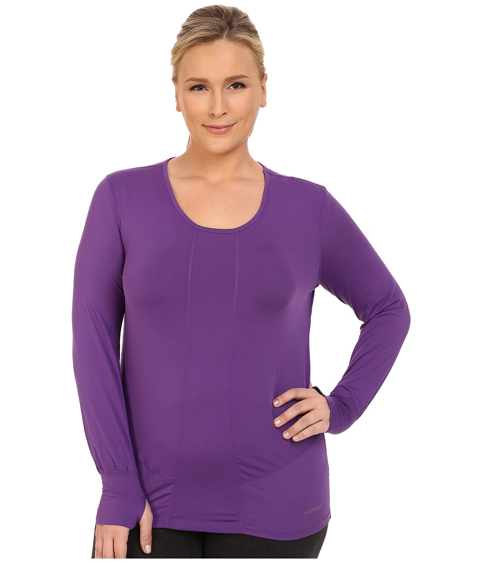 Terramar - Plus Size Cloudnine Performance Long Sleeve Scoop W8214W (Purple Rain) Women's Long Sleeve Pullover