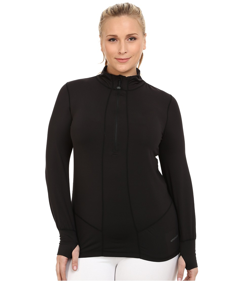 Terramar - Plus Size Cloudnine Performance 1/2 Zip W8216W (Black) Women's Long Sleeve Pullover
