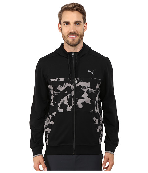 PUMA - Full Zip Lightweight Hoodie (Black/Print) Men