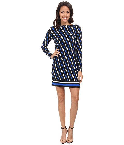 MICHAEL Michael Kors - Loom Long Sleeve Boat Neck Border Dress (Amalfi Blue) Women's Dress