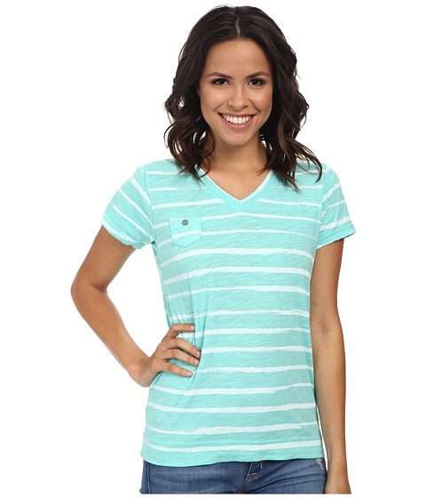 Fresh Produce - Brushed Stripe Heritage Logo Fem Tee (Palm) Women