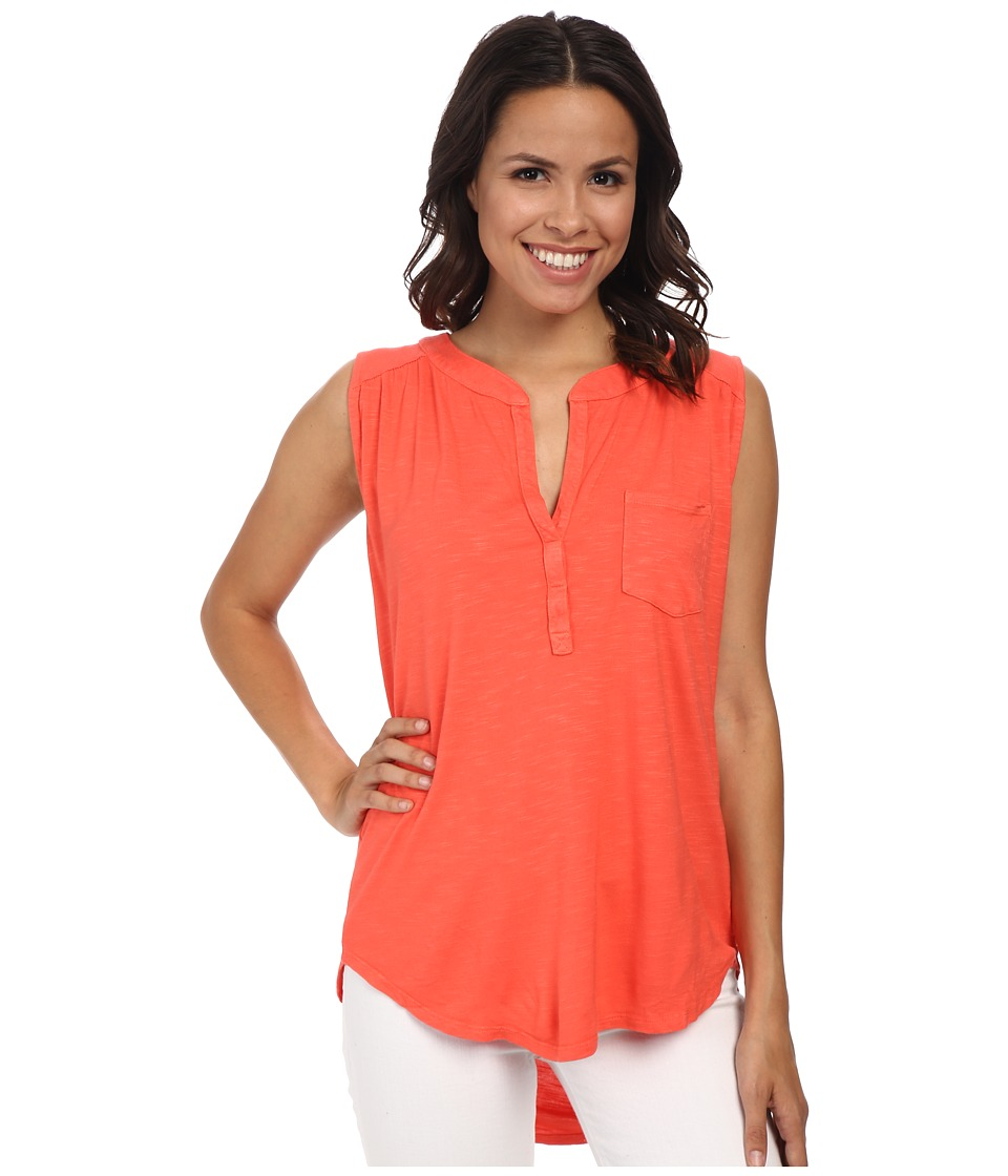 Fresh Produce - Avalon Henley (Red Coral) Women's Sleeveless