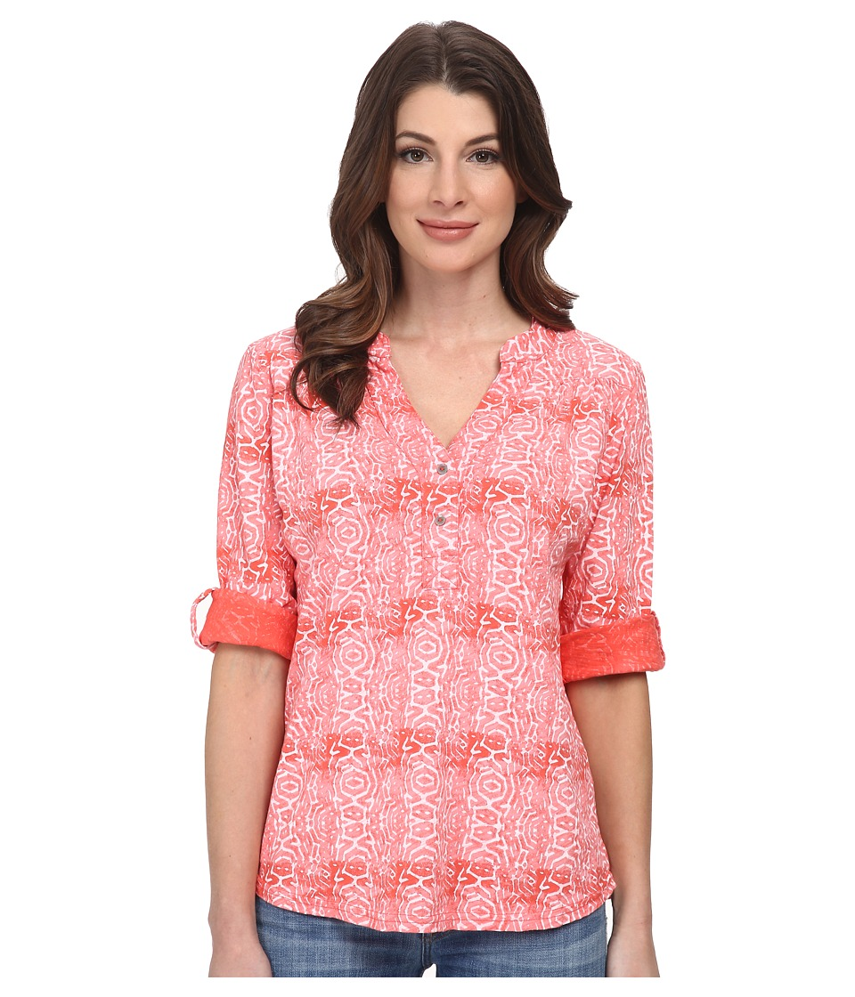 Fresh Produce - Geo Wave Dockside Henley (Red Coral) Women