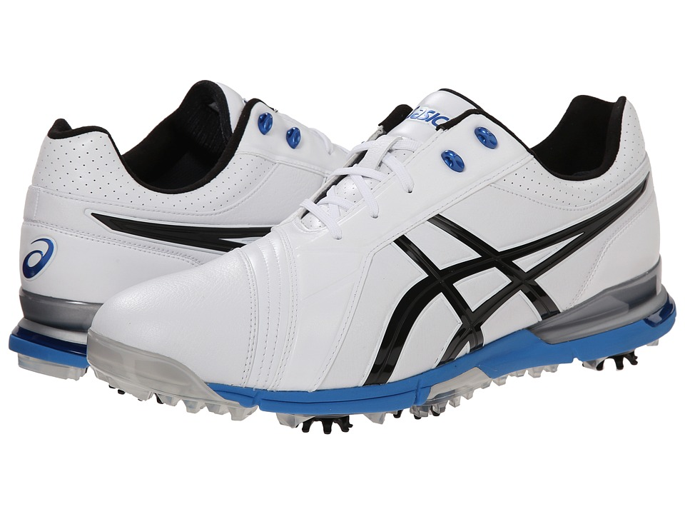 ASICS - Gel-Ace Pro FG (White/Black/Blue) Men's Golf Shoes