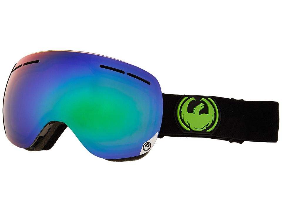 Dragon Alliance - X1S (Jet/Green Ionized/Yellow Blue Ionized) Snow Goggles