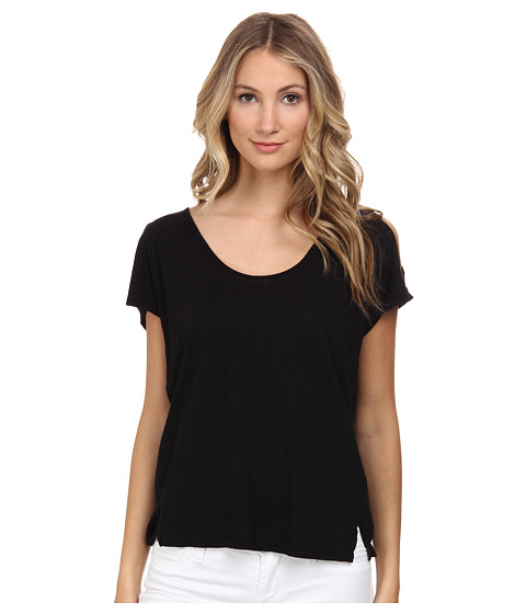 Velvet by Graham & Spencer - Amaria Cold Shoulder Top (Black) Women's T Shirt