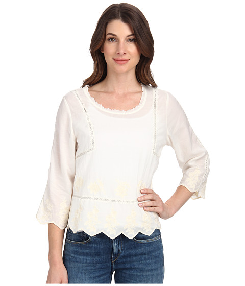 Velvet by Graham & Spencer - Milio Embellished Top (Cream) Women's Long Sleeve Pullover