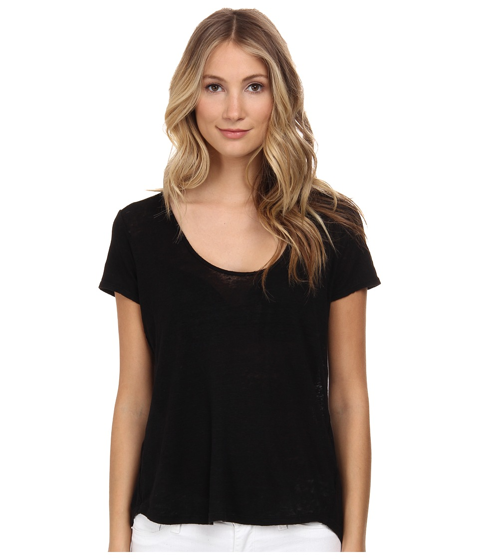 Velvet by Graham & Spencer - Oliana Short Sleeve Linen Scoop Top (Black) Women's Short Sleeve Pullover