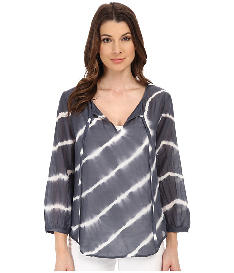 Velvet by Graham & Spencer - Edana Voile Tie-Dye Top (Grey) Women's Short Sleeve Pullover