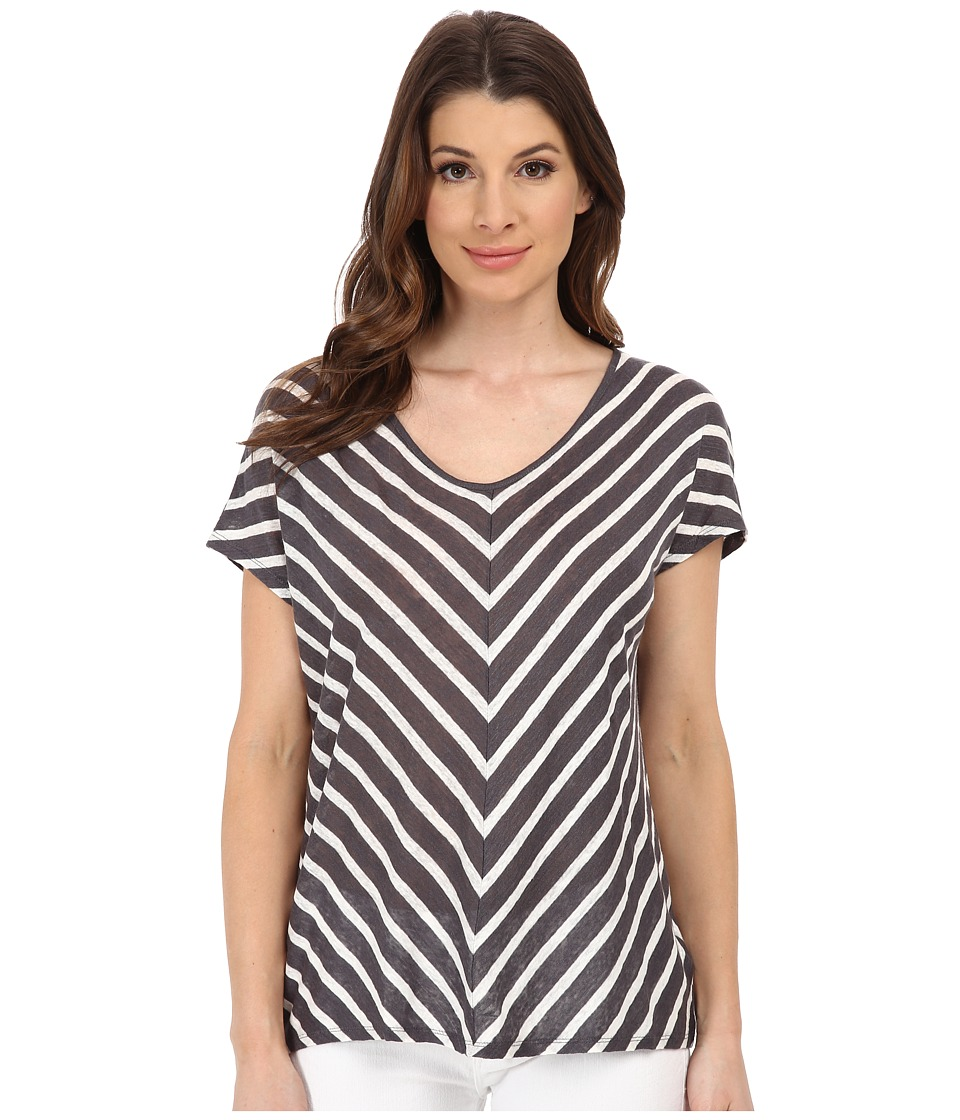 Velvet by Graham & Spencer - Eisa Stripe Tee (Grey) Women's T Shirt