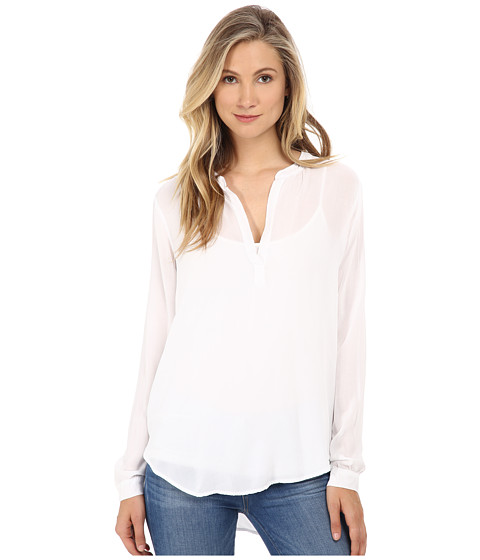 Velvet by Graham & Spencer - Rosie Long Sleeve Challis Top (White) Women