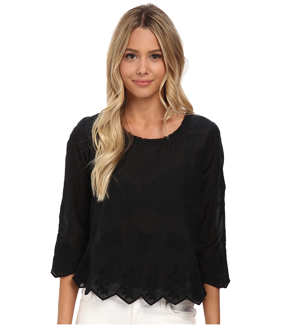 Velvet by Graham & Spencer - Milio Embellished Top (Black) Women's Long Sleeve Pullover