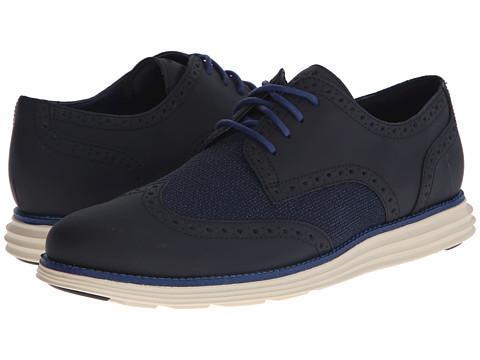 Cole Haan - LunarGrand Wing Tip (Blazer Blue Textile) Men's Lace Up Wing Tip Shoes