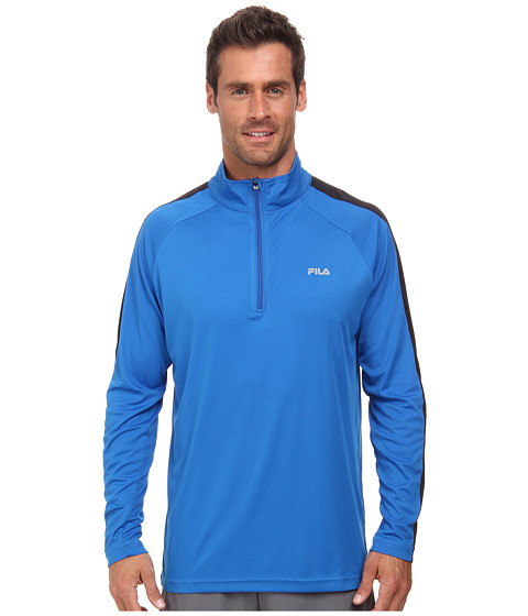 Fila - Run It Half Zip (Electric Blue/Black) Men