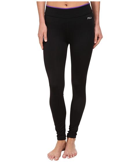 Fila - Tipped Waist Legging (Black/Eletric Purple) Women's Clothing