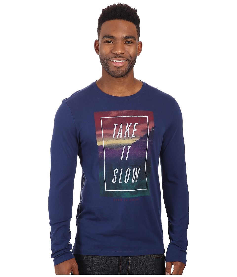Life is good - Newbury Long Sleeve Tee (Darkest Blue) Men's T Shirt