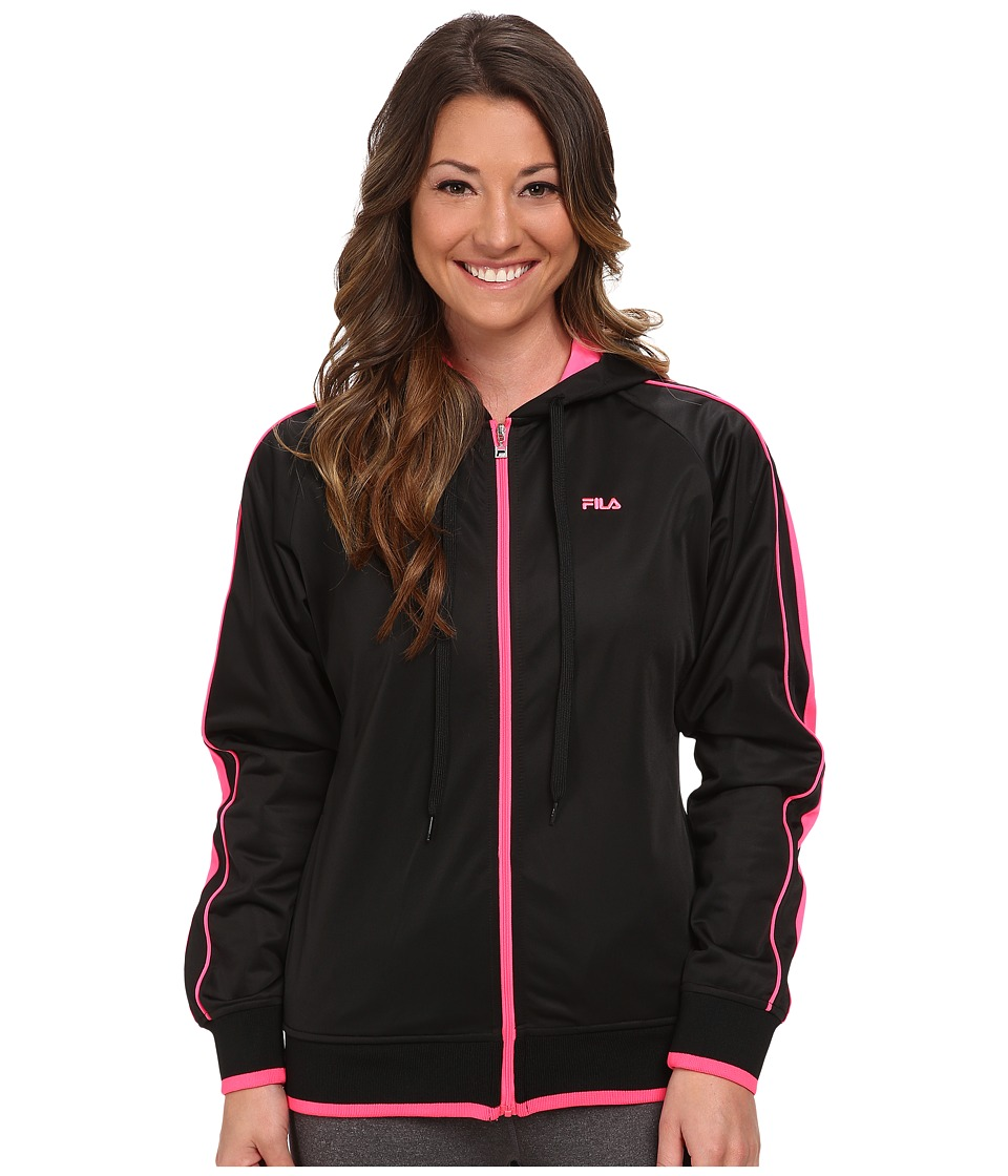 Fila - On Track Hoodie (Black/Knockout Pink) Women's Sweatshirt