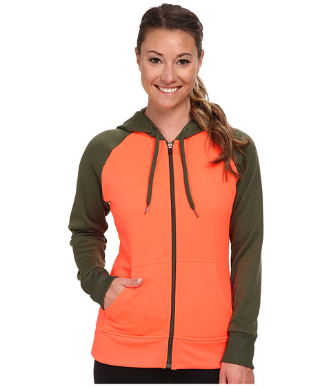 Fila - Raglan Full Zip Hoodie (Fiery Coral/Rifle Green) Women