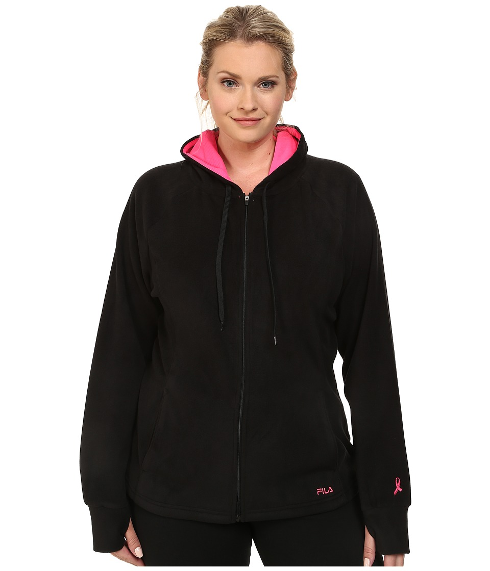 Fila - Comfy Jacket (Black/Knockout Pink) Women's Coat