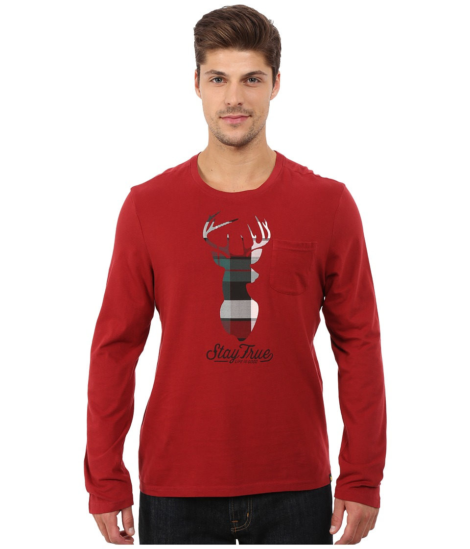 Life is good - Pocket Sleep Long Sleeve Tee (Rich Red) Men's Pajama