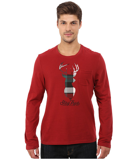 Life is good - Pocket Sleep Long Sleeve Tee (Rich Red) Men
