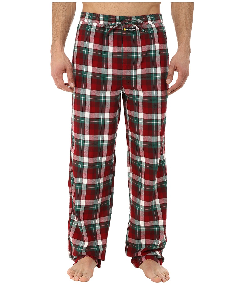 Life is good - Classic Sleep Pant (Red/Green Plaid) Men's Pajama