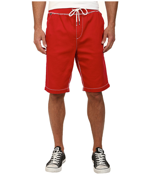 True Religion - Contrast Big T Sweatshorts (True Red) Men