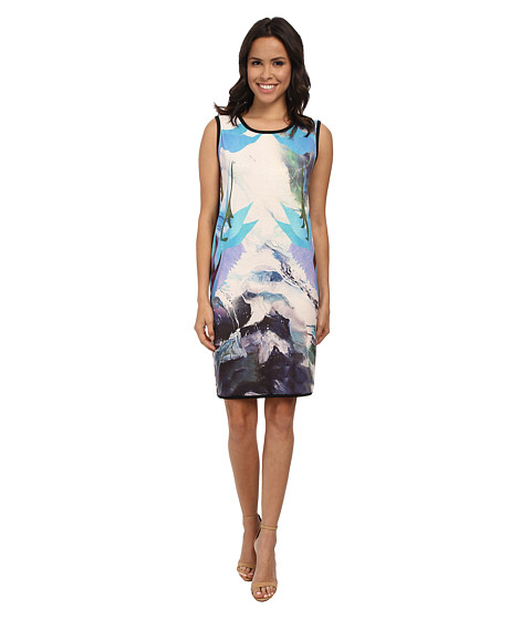 Nally & Millie - Blue Multi Dress with Black Back (Multi) Women's Dress
