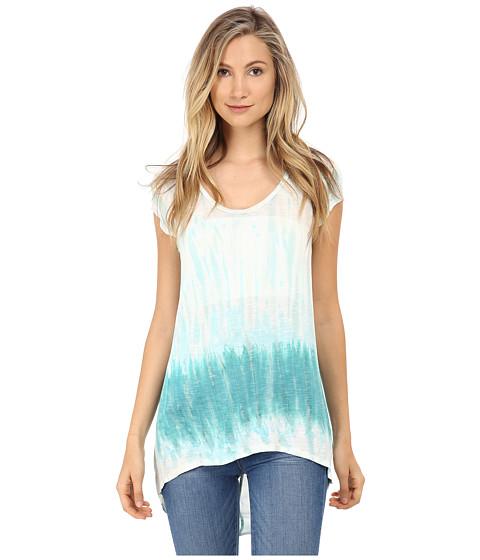 Young Fabulous & Broke - Dali Top (Turquoise Watercolor Border) Women's Clothing