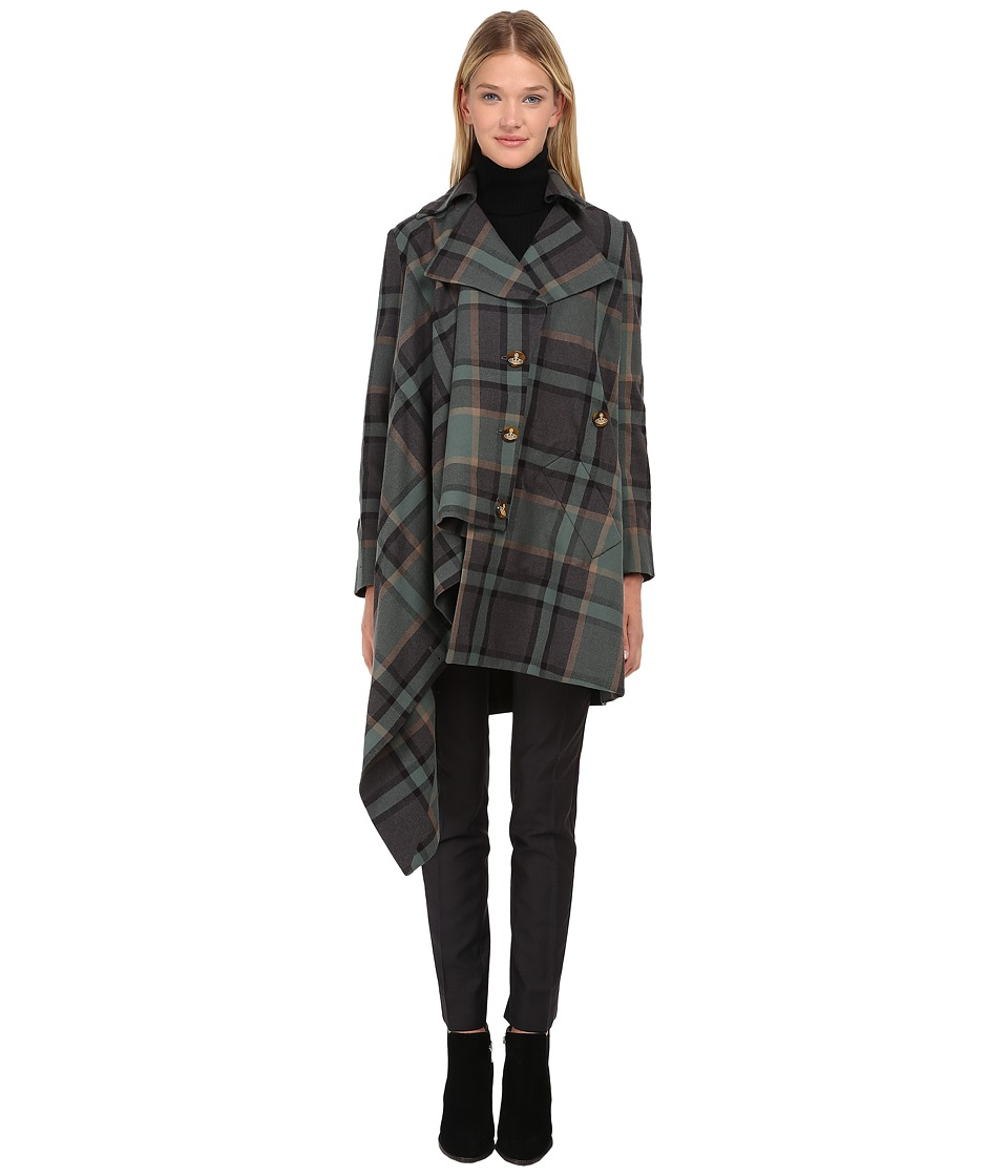 Vivienne Westwood Red Label - Washed Tartan Blanket Kaban (Green Tartan) Women's Coat